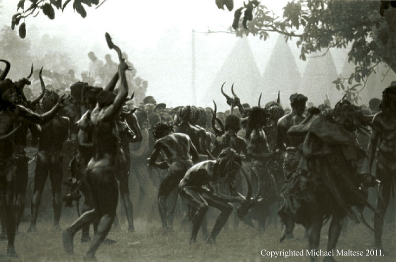 Dancers from a Secret Fraternal Society Perform during a Special Fete of Initiation. Bafussam, Cameroon.