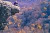 Biker at Hawksbill Crag, northwest Arkansas, Upper Buffalo Wilderness Area, 1 5-mile hike in from gravel road - 47 - 72 ppi