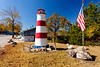 A small decorative lighthouse at the Lighthouse Point Resort on Bull Shoals Lake, Arkansas, USA.