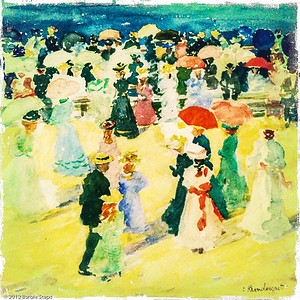 Excerpt from people on the Beach: Revere beach -  Maurice Brazil Prendergast