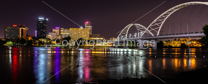 Little Rock, Arkansas -- night skyline above flooded Arkansas River - _W7A0030 - 72 ppi-2