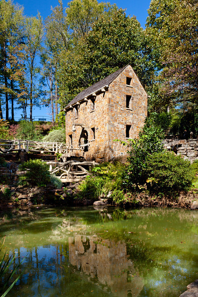 A restored grist mill in Old Mill Park in Little Rock, Arkansas, USA.