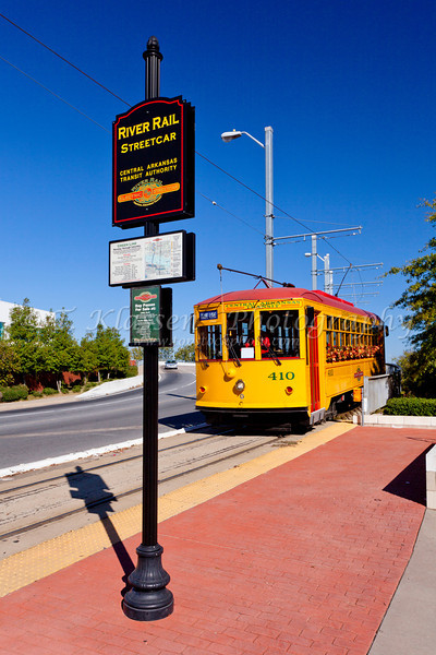 An electric trolley on the streets of Little Rock, Arkansas, USA.