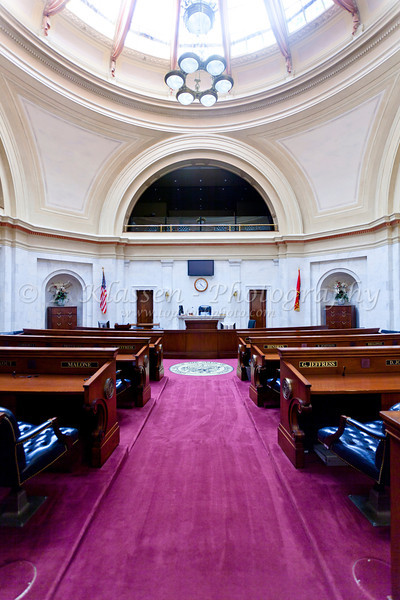 The State Senate chambers at the State Capitol building in Little Rock, Arkansas, USA.