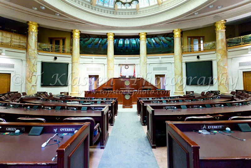 The House of Representatives chambers at the State Capitol building in Little Rock, Arkansas, USA.