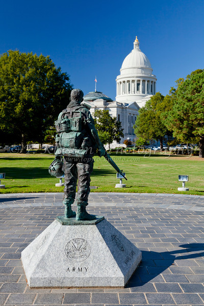 A soldier statue at the Army monument at the Arkansas State Capitol grounds in Little Rock, Arkansas, USA.