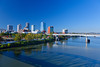 The Arkansas River and the skyline of Little Rock, Arkansas, USA.