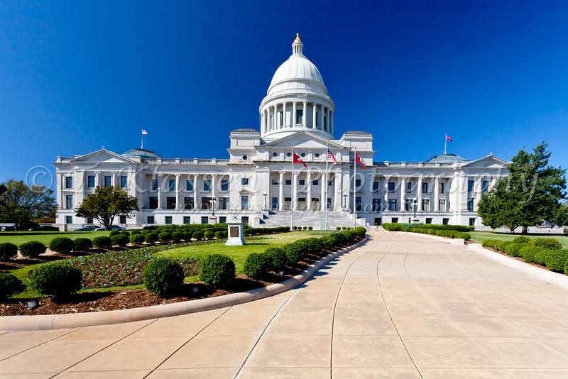 The Arkansas State Capitol building in Little Rock, Arkansas, USA.