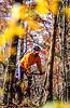 Mountain biker on Womble Trail in Arkansas' Ouachita Mountains - 123 - 72 ppi - soft focus on face