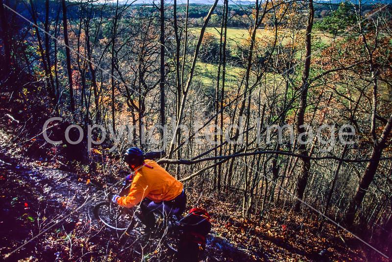 Mountain biker on Womble Trail in Arkansas' Ouachita Mountains - 40-Edit - 72 ppi