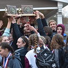 GREG SUKIENNIK -- MANCHESTER JOURNAL<br /> Arlington Memorial High School boys and girls soccer teams revel in the state titles they won on Saturday.