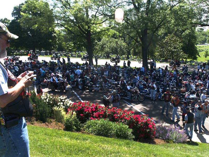 Rolling Thunder riders at Arlington National Cemetery,  Memorial Day weekend, 2009