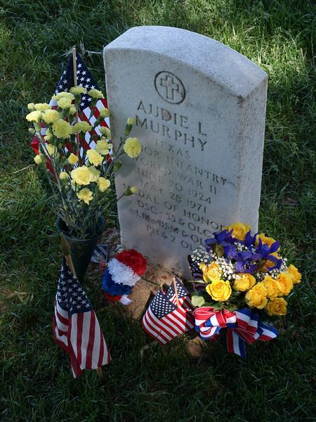 Flowers bedeck grave of Audie Murphy, Arlington National Cemetery,  Memorial Day weekend, 2009