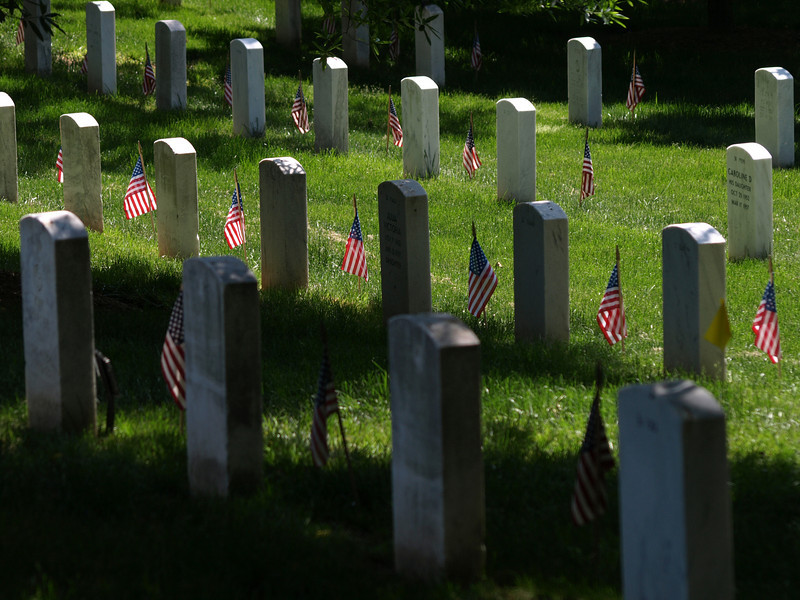 A flag on each grave, Arlington National Cemetery,  Memorial Day weekend, 2009