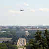 Presidential helicopter flies over the Lincoln Memorial, seen from Arlington National Cemetery,  Memorial Day weekend, 2009