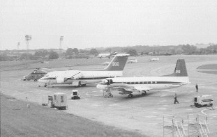 <font size=3><u> - Queen's Flight - </u></font> (BS0364)  Starting from the front is a :  Hawker Siddeley  Andover CC2,  BAe 146 CC2  then a Wessex HCC4 of The Queen's Flight.  The three small aircraft behind the tailplane of the 146 are Scottish Aviation Bulldogs (University Air Squadron) and the aircraft at the top of the 146 tail is a Hawker Siddeley  Andover C1 of No  115 Squadron.