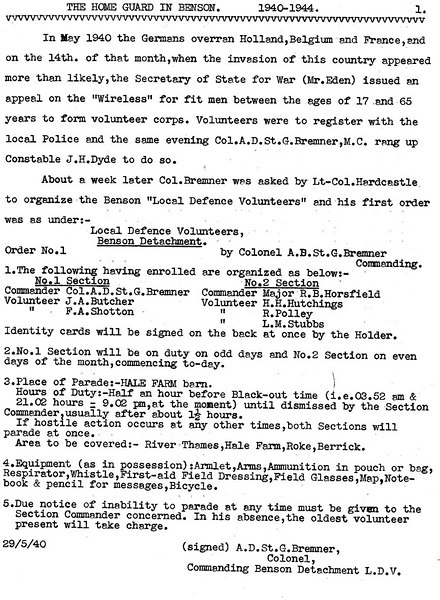 <font size=3><u> - Home Guard - 1940 - </u></font> (BS0379)  Describes formation of Benson Home Guard, dated 29 May 1940.