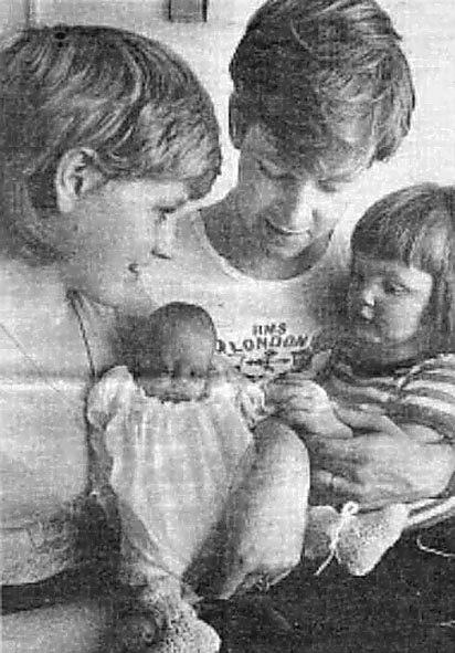 <font size=3><u> - First 'Falklands War' Baby -  </u></font> (BS0118)  Ray Lawrence's granddaughter. First baby born to a local serviceman involved in the Falklands War. Sailor is Gary Lawrence, wife Diane holds baby Natasha, whilst Gary holds elder sister Kellie. Birth 13 May 1983