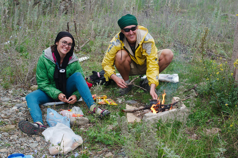 Molly and Kyle preparing dinner at our campsite outside Vanadzhor