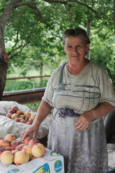Shortly after entering Armenia we were stopped and offered peaches, coffee and snacks by this woman and her husband