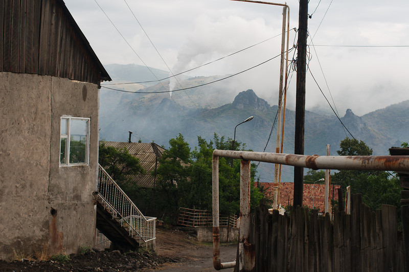 View from Sadahart (Sanahin), a chimney from Alaverdi's copper smelter chimney in the background