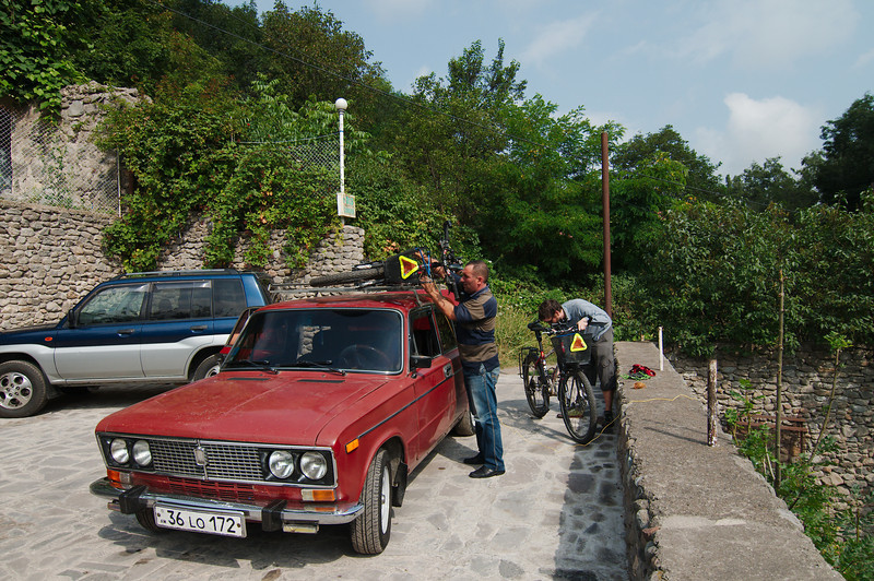Loading up out bikes for the ride up to Meghri Pass