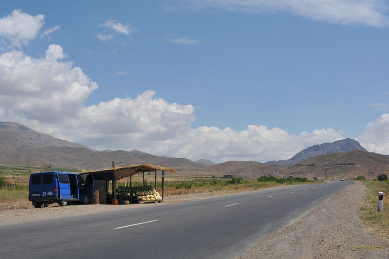 Leaving the Ararat Valley, a few watermelon stands are the only sources of shade
