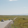 Cycling along a high altitude plateau before our descent to Goris