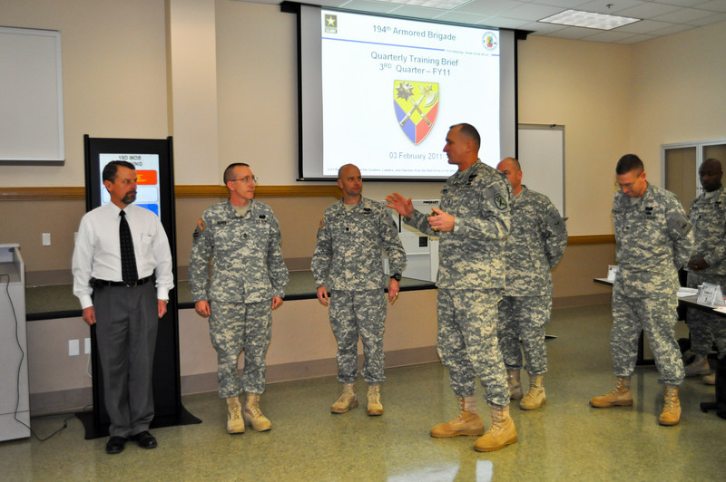 03 FEB 2011 - 194th QTB, MG Brown presents to SFC Brian Hahner, F Co., 3-81, 194th Bde and Rodney Maupin, Bridgade Training Division, F Co., 3-81, 194th Bde.  MCoE, Fort Benning, GA.  Photo by Monica Manganaro.