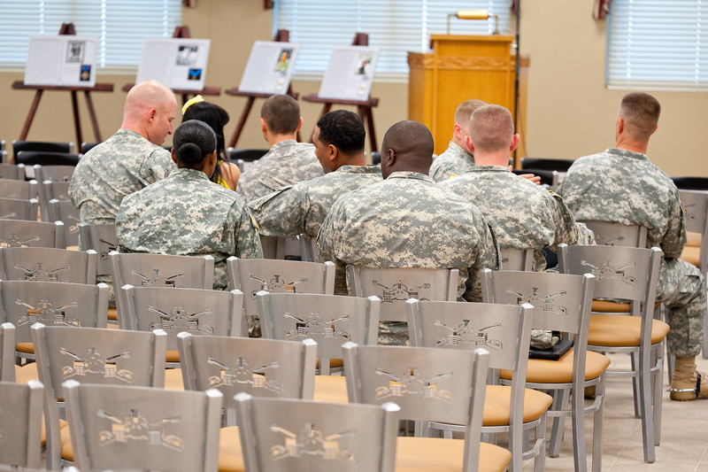 (FORT BENNING, Ga) The dedication ceremony for the 1-81 Headquarters, 1-81  Armor Battalion Dining Facility, A Company 1-81 Armor Battalion, B Company 1-81 Armor Battalion (19K-Tankers OSUT Barracks), C Company 1-81 Armor Battalion (19K-Tankers OSUT Barracks) and H Troop 1-81 Armor Battalion (19D-Scouts OSUT Barracks) held August  24th, 2012 at Tedford Chapel, Fort Benning Ga. (Photo by: Patrick A. Albright/MCoE PAO Photographer)