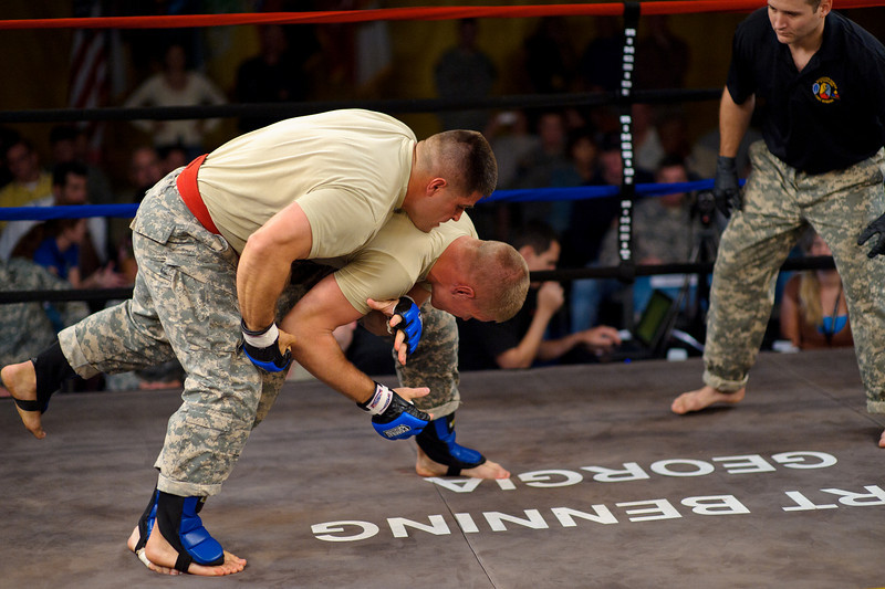 03 OCT 2010 - Bout 7 Light Heavyweight Starks def. Belasco on the third and final day of competition at the MACP All Army Championship Tournament, Smith Gym, Fort Benning, GA. Photo by John D. Helms - john.d.helms@us.army.mil