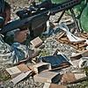 2011-04-22 Students in week four of Sniper School, fire M107 .50 caliber long range sniper rifles. Coolidge Range, Harmony Church. Photo by Susanna Avery-Lynch - susanna.lynch@us.army.mil