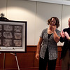 """The """"Dragoon for Life"""" print was donated by Dr. Albert W. Biglan to the USAARMS/MCoE Thursday, June 14, 2012 at the Cooke Conference Room, MCoE Headquarters. The work was done by Jamie Warner, a former patient of Dr. Biglan. (Photo by Ashley Cross/PAO MCoE)"""