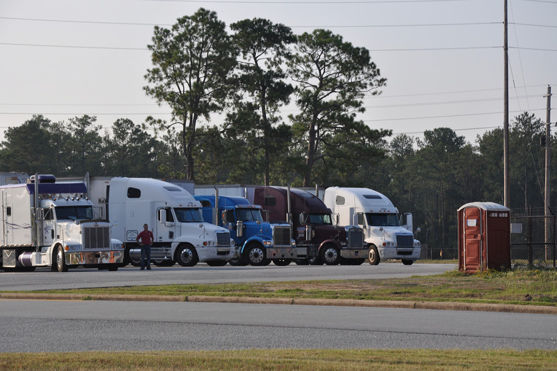 Six trucks arrive on Fort Benning with first shipment of Armor School equipment Sept. 10.  Thousands of more trucks will make the trip from Fort Knox through Sept. 2011.