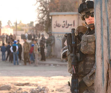 A Soldier from Task Force Band of Brothers provides security in north-central Iraq on national election day, Dec. 15.