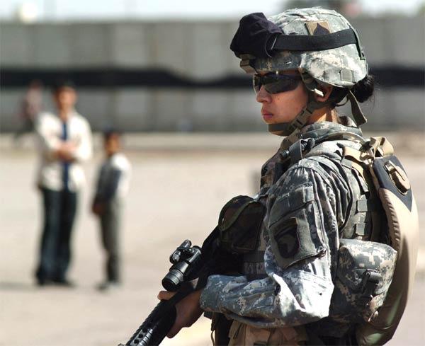 Pfc. Brandie Leon, from the 101st Airborne Division, patrols Baghdad.