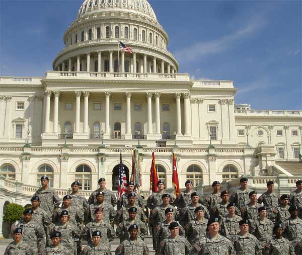 Forty Army Reserve Soldiers from around the country, including many combat veterans, await reenlistment at the U.S. Capitol Apr. 6.