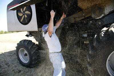 Arnie Ralston makes an in field repair to his combine tractor at a field near his house on IL route 130 about ten miles south of Charleston, Illinois on Saturday, October 4, 2008.  (Jay Grabiec/Staff Photographer)