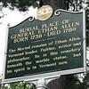Historical marker located along Colchester Av at the cemetery entrance