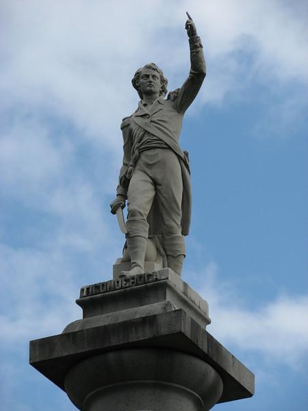 Closeup of the statue atop the column