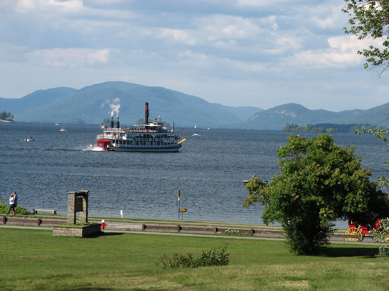 View of beautiful Lake George from the shoreline just north of the fort