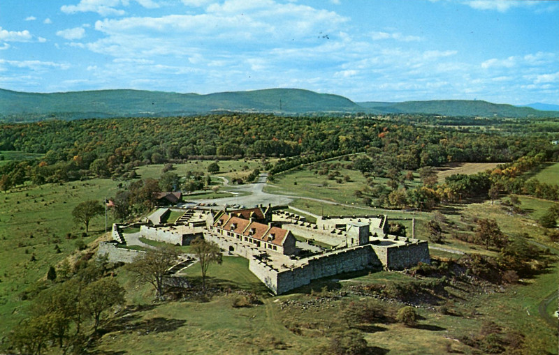 An aerial postcard view of the fort
