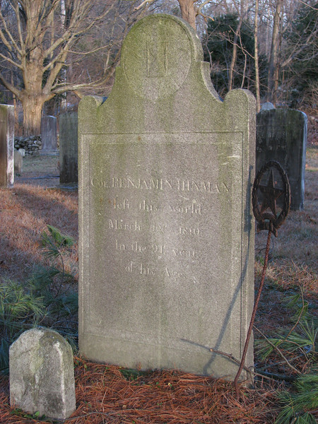 Closeup of Hinman's gravestone