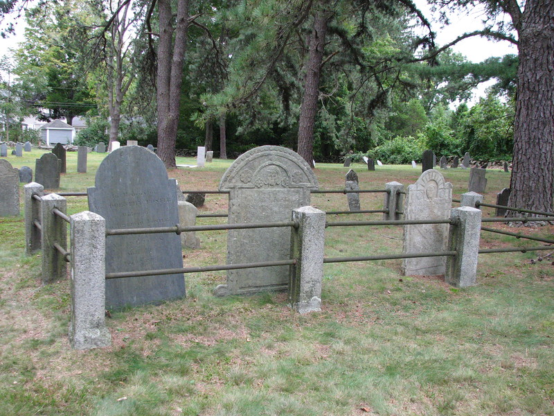 Enclosure surrounding the Foster family graves. Jedediah's is in the front center of this photo.