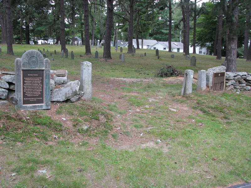 Entrance to Old Indian Cemetery, where Jedediah Foster is buried. His grave is enclosed by an iron pipe fence, visible in the distance above the left gatepost.