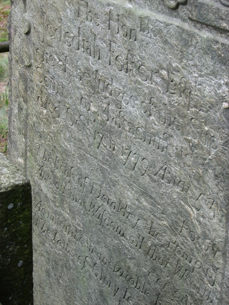 Inscription on Foster's gravestone from another angle.
