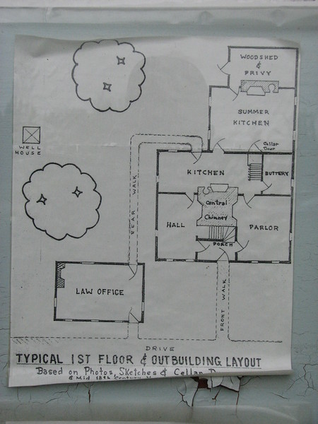 Drawing showing layout of the house, posted on the kiosk