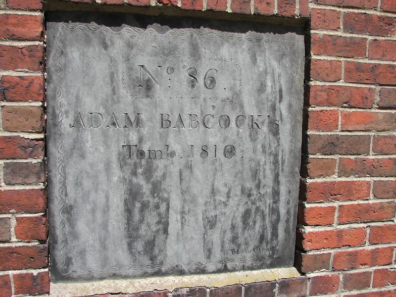 The Adam Babcock tomb marker.