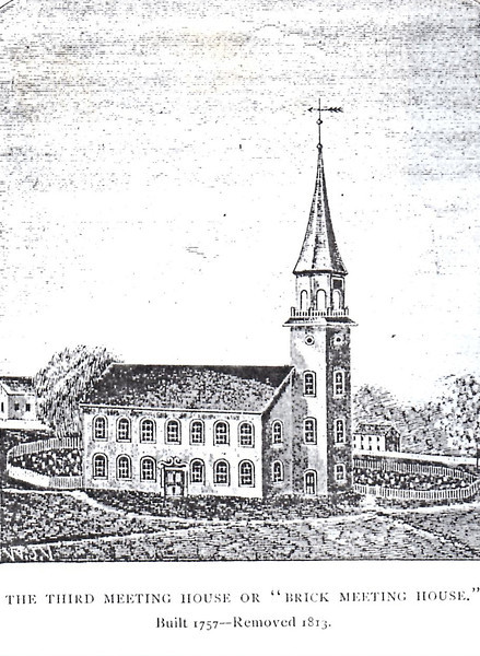 Drawing of the earlier meetinghouse as it looked in Arnold's time. Note the graveyard surrounding it.