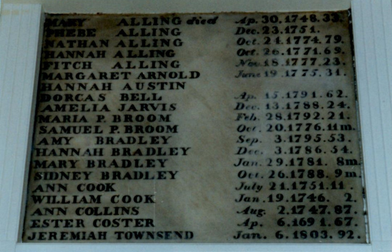In the church lobby is a list of burials in the church crypt. Note the sixth entry.